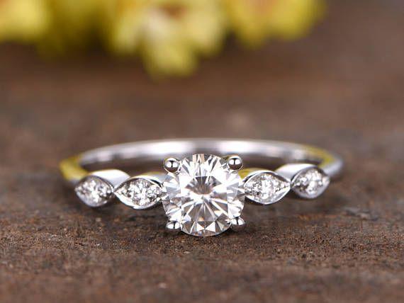 5mm Charles & Colvard Moissanite engagement ring 14k white gold diamond wedding ring Forever Classic Moissanite ring marquise band deco ring – Hochzeit