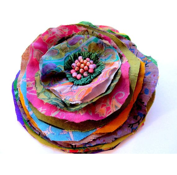 Silk Flower Brooch Pin Boho Chic Sari Silk by CalculatedFrenzies, $18.00