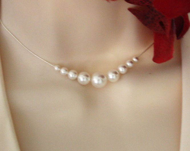 Bridal pearl necklace in Sterling Silver - wedding bridal jewelry, elegant necklace, wedding necklace, birthday gift, anniversary gift. $29.00, via Etsy.