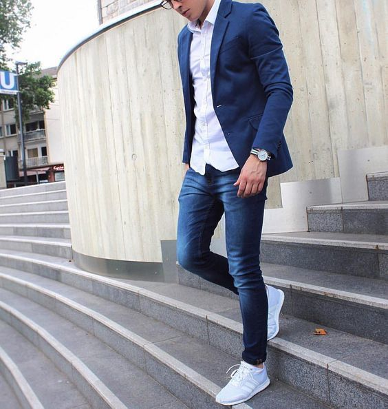 Menu0026#39;s White Long Sleeve Shirt Navy Skinny Jeans Grey Athletic Shoes | Grays Athletic F.C ...