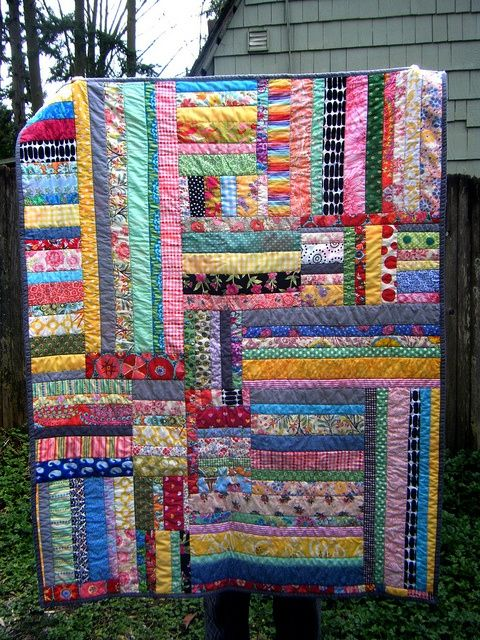 Wonderful strippy quilt! Random colors are great