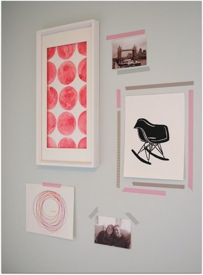 Inspirational wall, washi tape, masking tape, pink // The Petite Soiree via Apartment Therapy