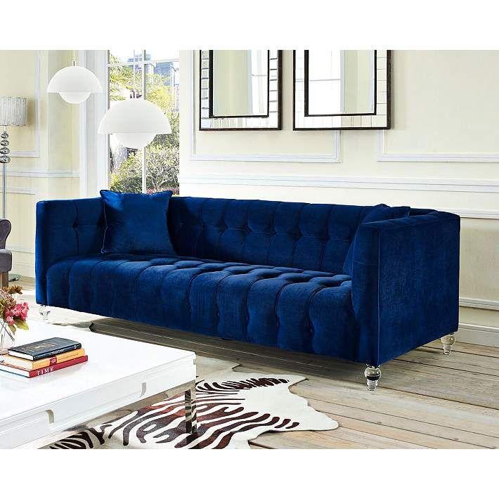 Bea Tufted Navy Blue Velvet Sofa