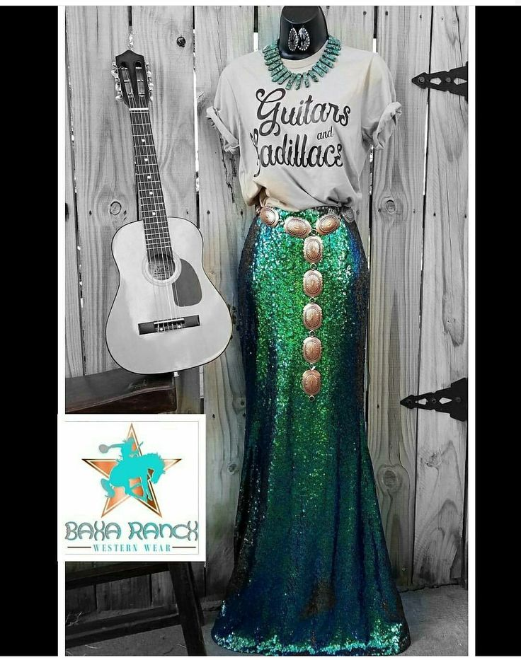 Cowgirl gypsy skirt Sequin mermaid holiday green blue vegas Maxi Western NFR #NFRFASHION Cowgirl gypsy skirt Sequin mermaid holiday green blue vegas Maxi Western WWW.BAHARANCHWESTERNWEAR.COM