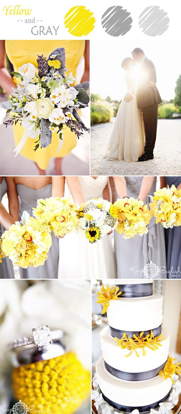 elegant yellow and gray wedding colors for summer 2015