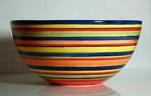Bassano Keramik Schüssel Rund 26 5 CM Bunte Linien Mediterranes Geschirr   eBay
