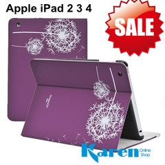 Apple iPad 2 iPad 3 iPad 4 Dandelion Design Mat Stand fold Leather Smart Cover Case with band Purple