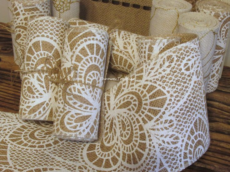 "Burlap Ribbon 5"" wide, Lace Print on Natural Burlap, Printed Burlap Ribbon, White Lace Print Burlap, Burlap Lace Garland, Wedding Decor Sash by ThrownTogether on Etsy https://www.etsy.com/listing/233207972/burlap-ribbon-5-wide-lace-print-on"
