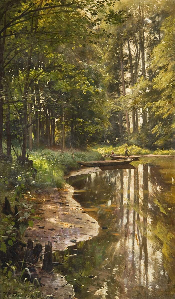 ✨ Peder Mork Monsted, Danish (1859-1941) - Romantische Waldlandschaft mit Boot-und Figurenstaffage, Öl auf Karton, signiert, datiert: Eiche 1912, 65x40 cm (25 1/2 x 15 3/4 in),Monsted Peder Mork.