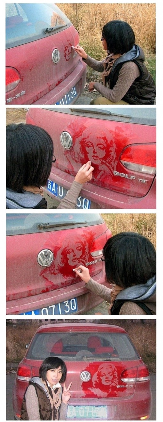 Cool~: Make Art, Marilyn Monroe, Dust, Coolers, Dirty Cars, Holy Cows, Weights Loss, Peacocks Feathers, Drawing