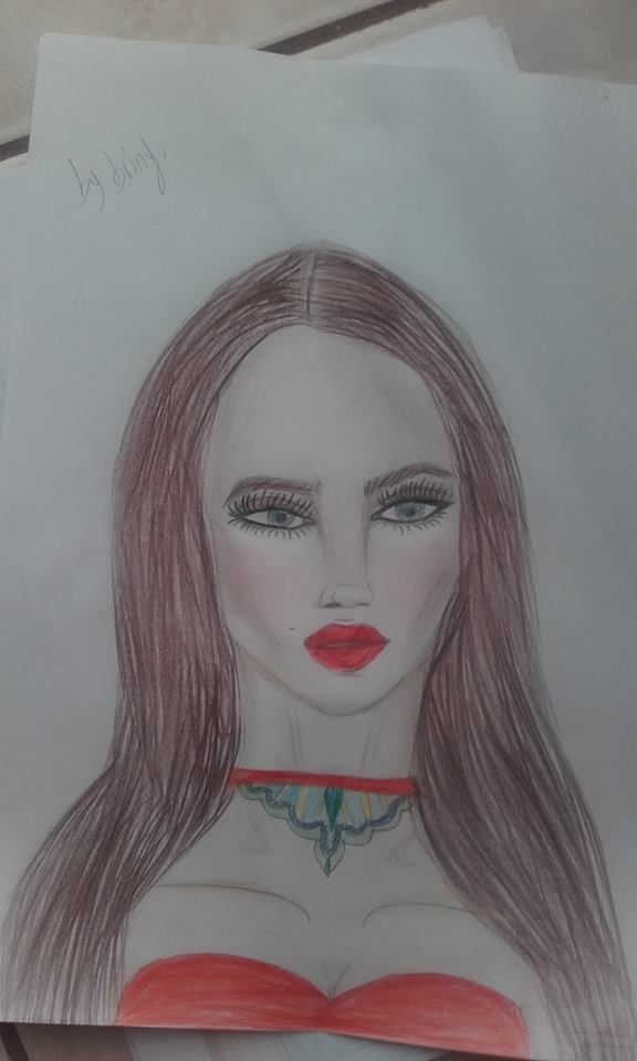Drawing makeup face red lips,bright eyes,red green choker
