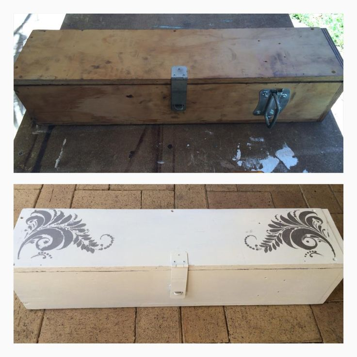 Toolbox makeover! At least I think it was a toolbox?! I spray painted it in white/cream then used a stencil I already had and some silver paint to do the pretty decal on top. This is now a bits and bobs storage container for me.