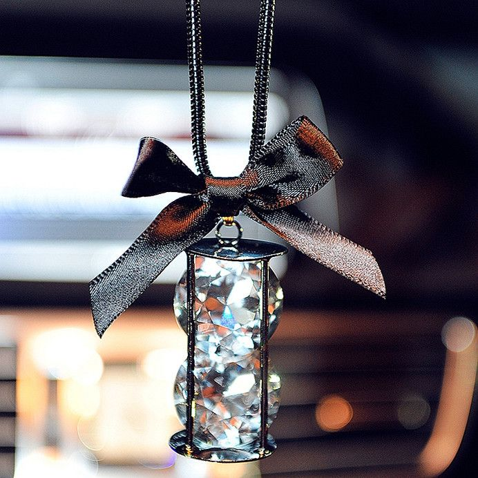 Car Charm Ornaments-Bling Hourglass Rearview Mirror Hanging Accessorry - Carsoda - 1