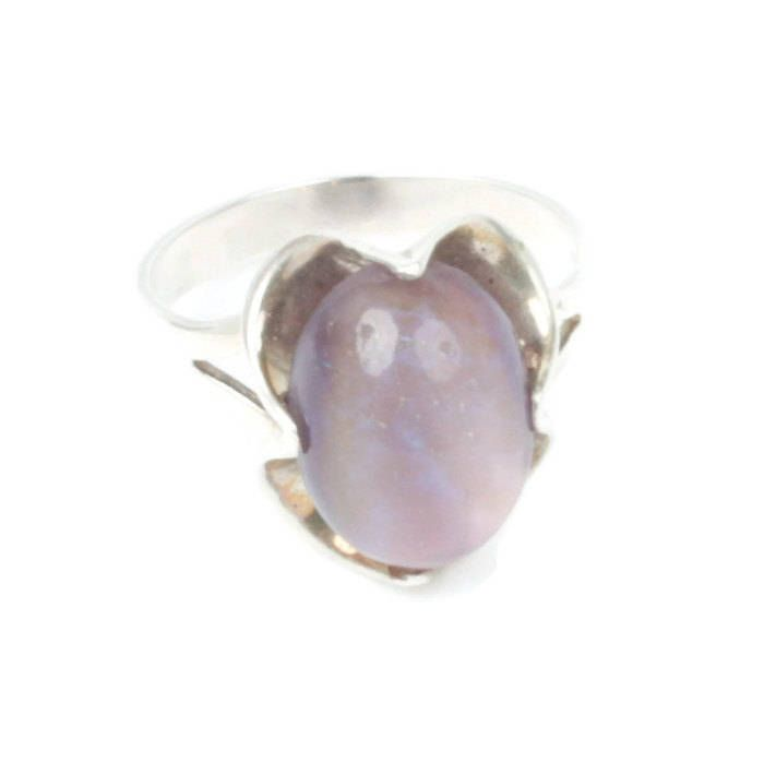 Lavan Hammered Sterling Silver Ring With Purple Opal - UK U - US 10 1/4 - EU 62 3/4 pZ2q4T