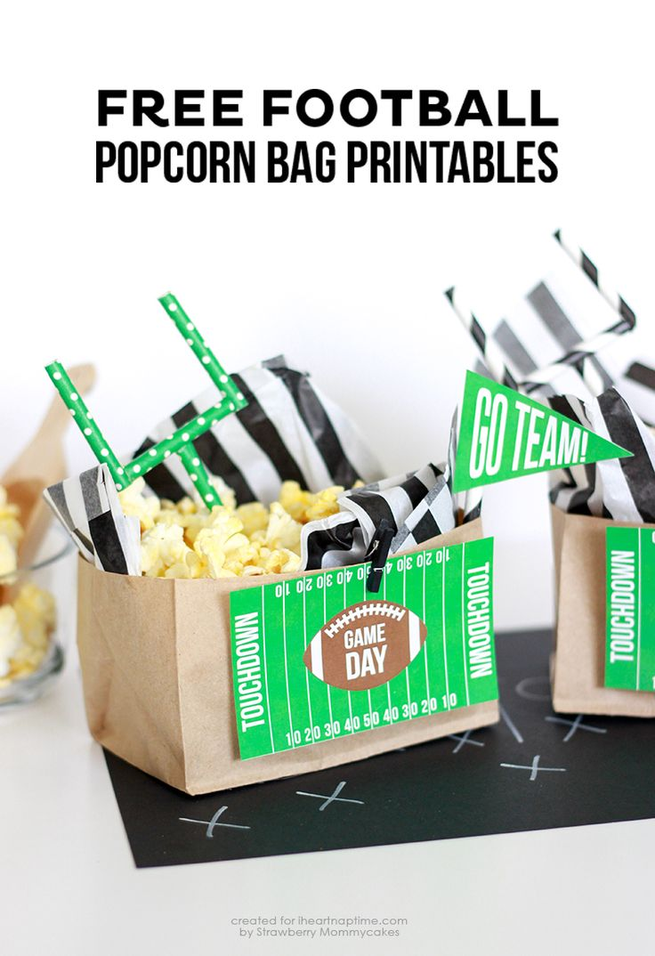 FREE Football Popcorn Bag Printables on iheartnaptime.com http://www.iheartnaptime.net/free-football-popcorn-bag-printables/?utm_source=feedburner&utm_medium=email&utm_campaign=Feed%3A+Iheartnaptime1+%28I+%7Bheart%7D+Nap+Time+RSS+Post%29