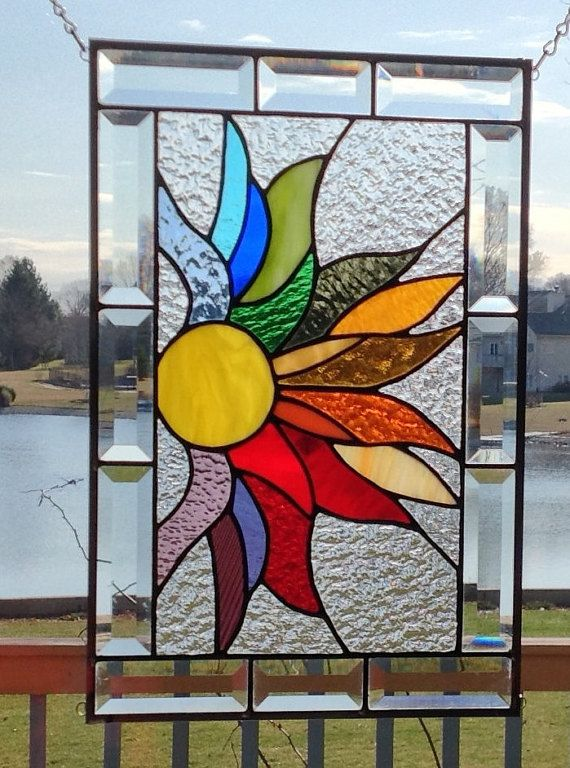 Rainbow stained glass panel window hanging flames by SGHovel