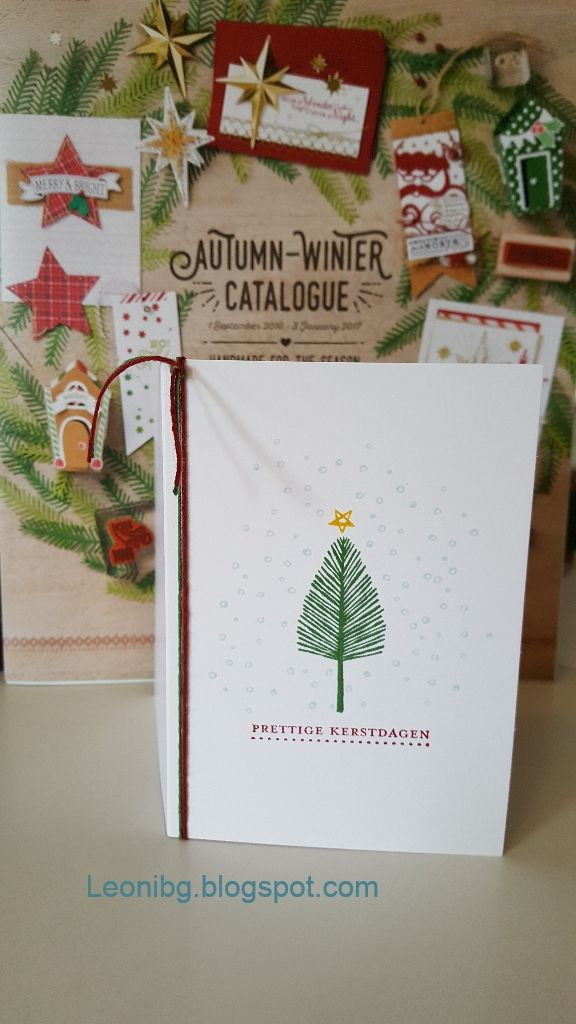 Totally trees christmascard Knutselen met LeoniBG : Herfst/winter catalogus bloghop Creatieve Harten