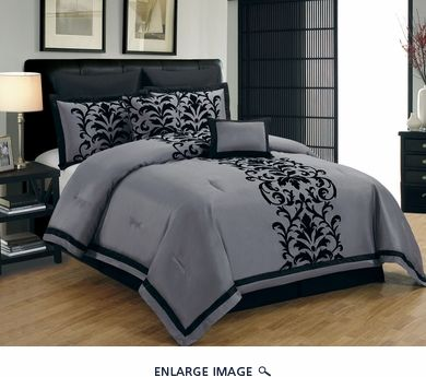 8 Piece King Dawson Black and Gray Comforter Set MAYBE?