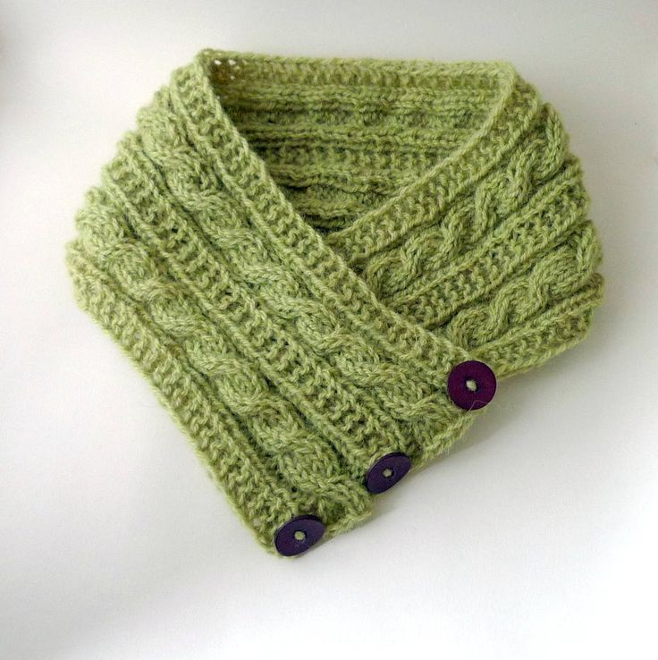 Green button scarf, greenery cabled scarf hand knit with wool from my sheep, naturally dyed with ivy berries, purple buttons, gift for her by FormerlyFleece on Etsy