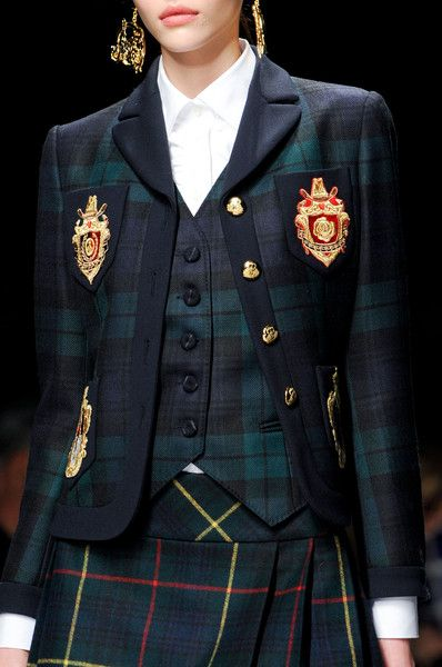 .Moschino fall 2013 - Details.  Wish I knew the name of the tartan on the skirt.