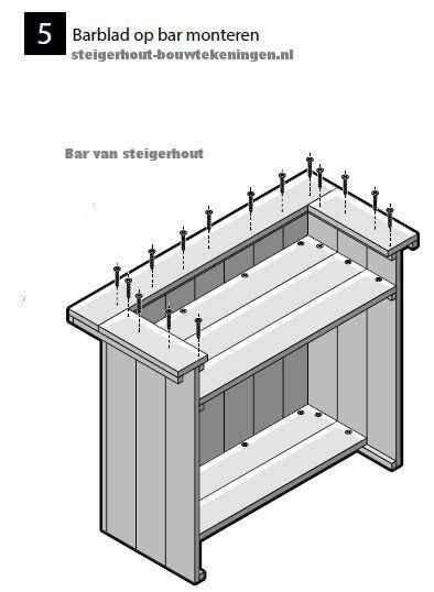 Schroef het barblad aan de onderkant van de bar. Montage van het barblad op de tuinbar. Stap5 van de bouwtekening, schroef voor en zijkant van de bar aan elkaar. Zijpanelen voor een #tuinbar maken, steigerhout #bar bouwtekening onderdelen.