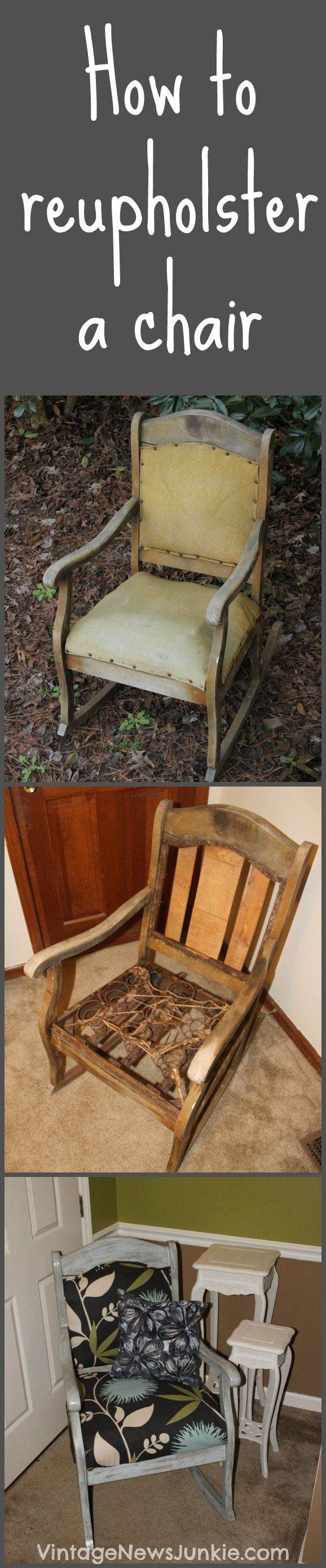 How to Reupholster a Chair Tutorial {Vintage News Junkie}