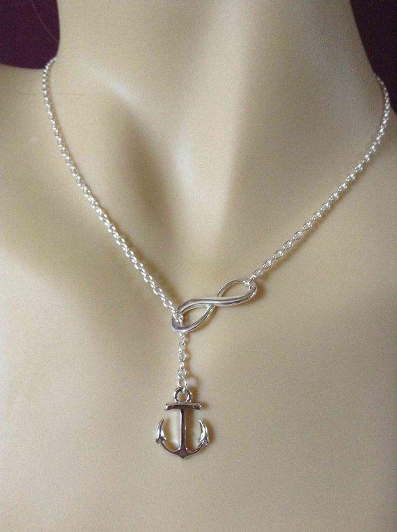 Collana lariat collana Infinity Anchor-simple di LuluCherryJewelry