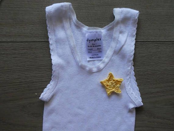 Baby boy singlet with crochet embellishment