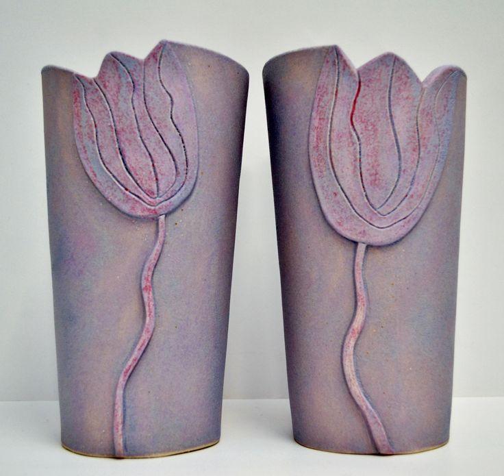 purple tulip vases by gail aspden