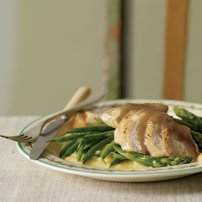 Orange-Balsamic Chicken with Asparagus, Green Beans and Polenta | Rec ...