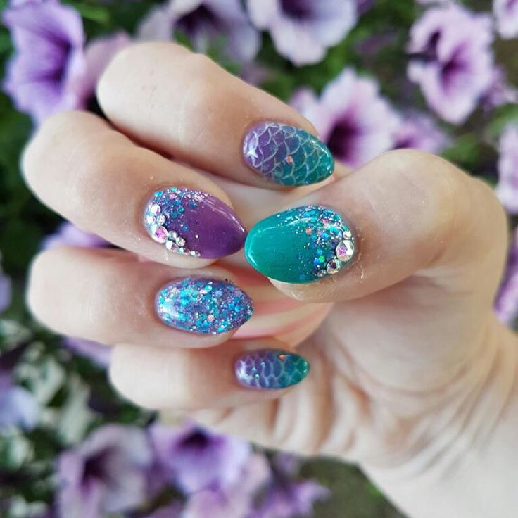 Purple and teal mermaid nails