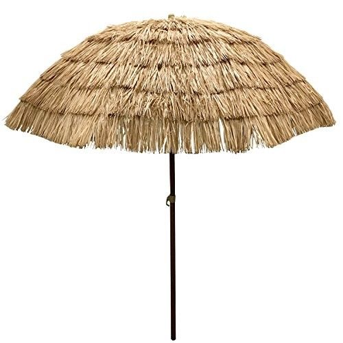 EasyGo - 6.5' Thatch Patio Tiki Umbrella – Tropical Palapa Raffia Tiki Hut Hawaiian Hula Beach Umbrella $55