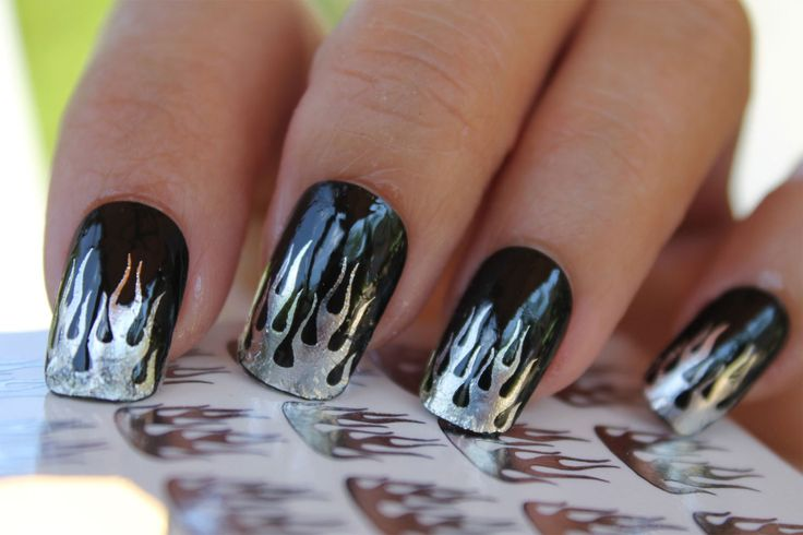 29 Chrome Foil FLAME TIPS Nail Art Decals - Harley Motorcycle ...