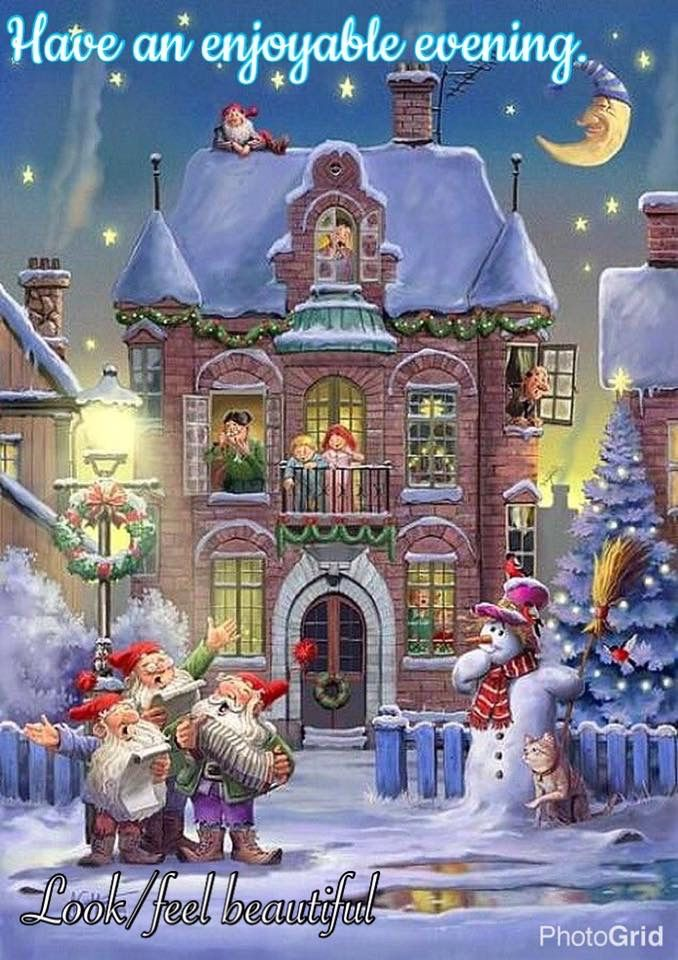 Enjoy your evening.🤶❄️🤶 | Christmas scenery, Merry christmas pictures, Animated christmas
