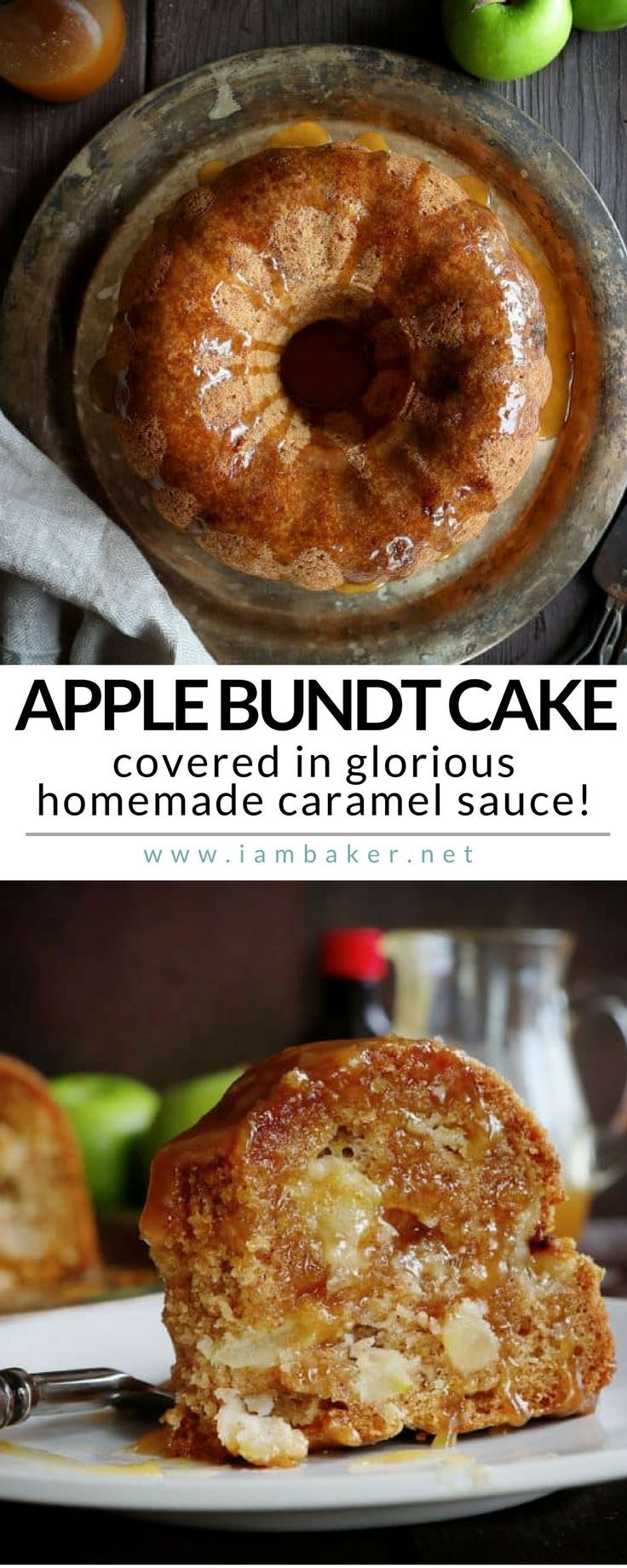 APPLE BUNDT CAKE - if you love bundt cake recipes, try this apple bundt cake recipe. Big chunks of apples and nestled into a cinnamon spice cake batter and covered in glorious homemade caramel sauce. For more simple and easy dessert recipes to make, check us out at #iambaker. #cake #desserts #yummydesserts #recipeoftheday