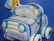 ♦♦ Windelauto + Bär + Schnullerkette in blau ♦♦