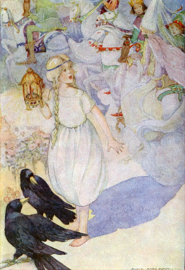 Hans Christian Andersen : Gerda and the Ravens - Anne Anderson