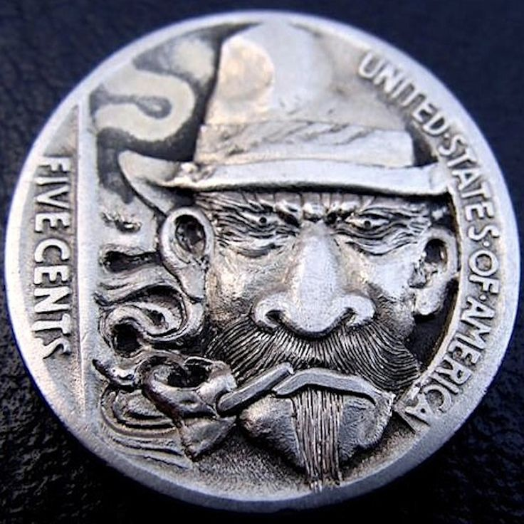 PAUL HOLBRECT HOBO NICKEL - THE OUTLAW - 1937 BUFFALO NICKEL REVERSE CARVING