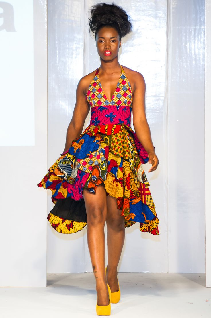 Asandia Hogan collection is presented on the runway of Africa Fashion Week London ~African Prints, African women dresses, Kitenge, Ankara, Kente, African fashion styles, African clothing, Nigerian style, Ghanaian fashion ~DK