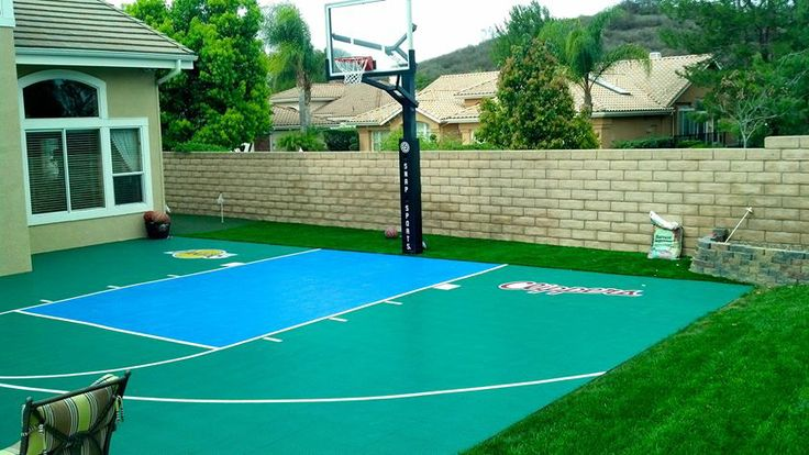 Cool small backyard with a custom SnapSports outdoor ...