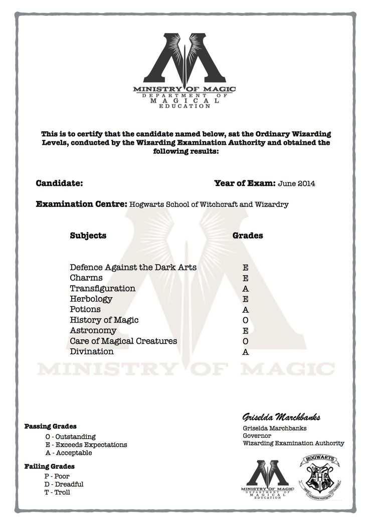 Harry potter o w l 39 s certificate with grades harry for Hogwarts certificate template