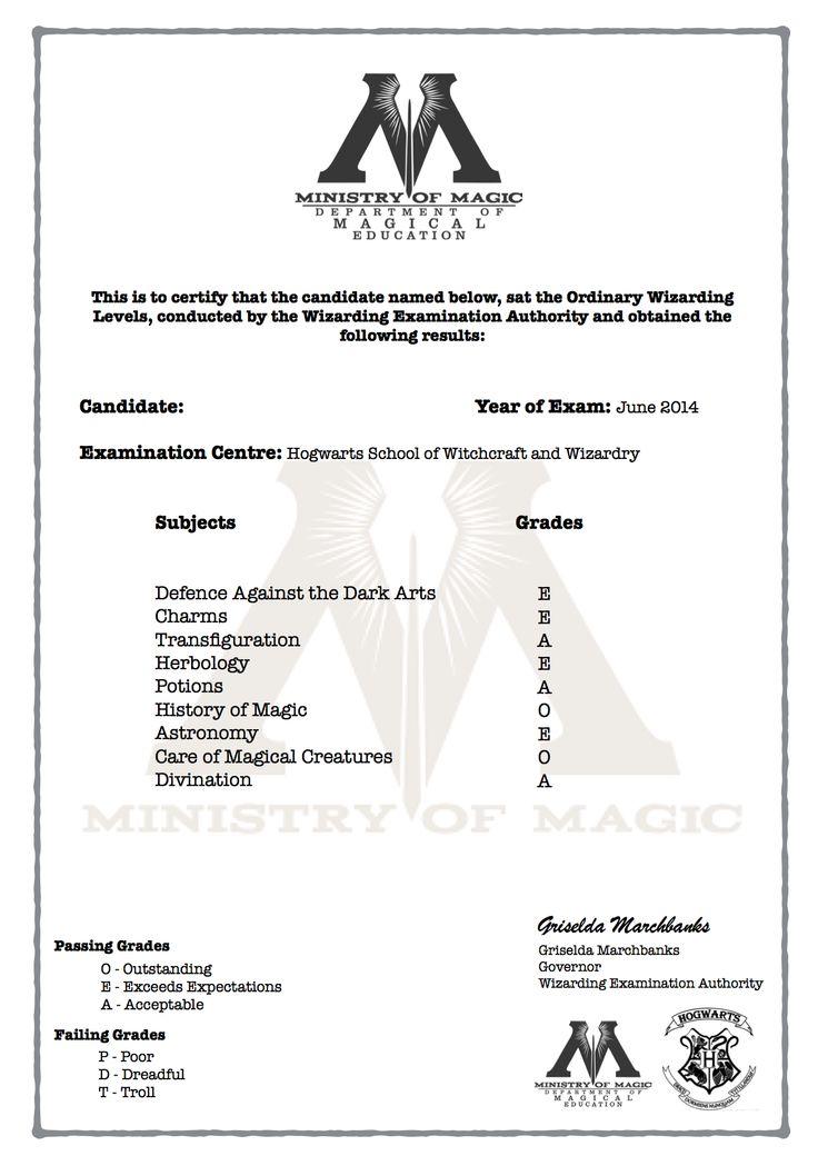 harry potter o w l u0026 39 s certificate with grades