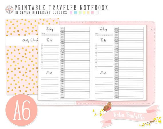 A6 12 Hour Daily Schedule by Hour Traveler Notebook Refill. 4 x 6 Printable TN Download Personal Use. Time Schedule Hourly Planner Inserts by RobinPrintables