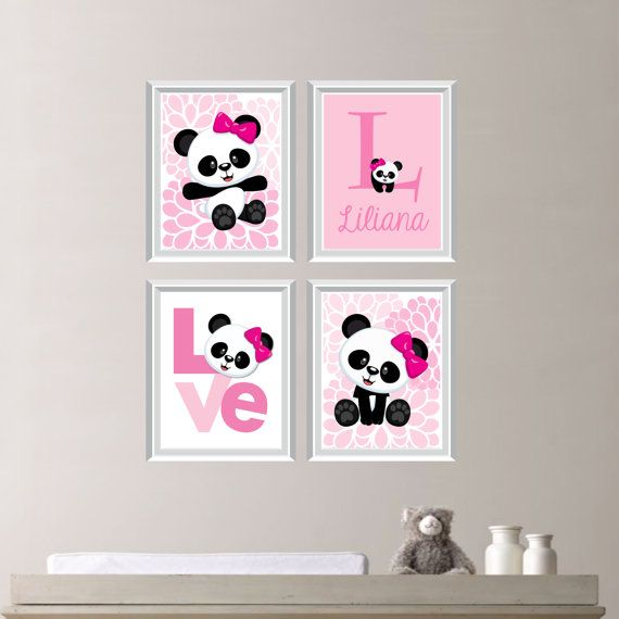 Baby Girl Nursery Art Print - Panda Bear Nursery Prints - Panda Bear Bedroom Art…