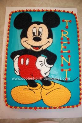 Homemade Mickey Mouse Birthday Cake: I made this Mickey Mouse Birthday Cake for my son's 7th birthday. He is into Mickey Mouse clubhouse. I could not find a Mickey Mouse cake pan so I decided