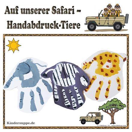 """Die Kinder werden sich wie auf einer echten Safari fühlen, wenn sie diese tollen Safari-Handabdruckbilder an den Wänden ihres Klassenzimmers sehen. Das benötigen Sie:Handabdruck-Bildunterlage """"Auf unserer Safari"""""""