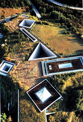 """""""... the Chichu Museum, which Ando designed to showcase art by three artists:  James Turrell, Walter de Maria and Claude Monet. The following photo is an aerial view of the mostly underground structure."""""""