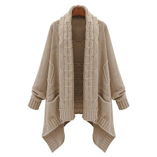 Cable Knit Long Thick Cardigan (€28) ❤ liked on Polyvore featuring tops, cardigans, sweaters, brown tops, brown cardigan, brown cable knit cardigan, long length cardigan and long tops