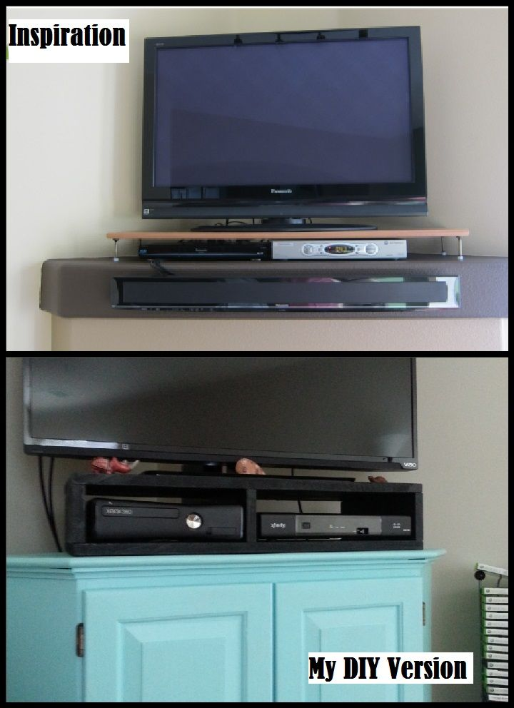 Captivating We Used To Have To Open Up Our Teal Corner Cabinet To Use The Cable Box And  Xbox. So We Made A Black TV Stand For About $15... It Makes Watching TV ...