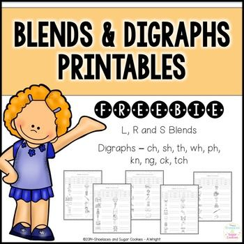 FREE Blends and Digraphs PrintablesHere are 5 free printables that would be great for your sub tub, to supplement your blends and digraphs lessons or to use as an assessment.Students read the words in the word bank and then write the words next to the correct picture.Blends and Digraphs included are:- bl, cl, fl, gl, pl, sl- br, cr, dr, fr, gr, pr, tr- sc, sk, sl, sm, sn, sp, st, sw- ch, ph, sh, th, wh- kn, ck, ng, tchThese printables would go great with my Blends and Digraphs ~ Pocket…